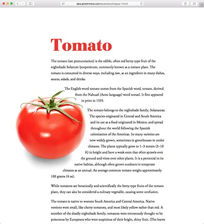 screenshot of the Tomato shape demo