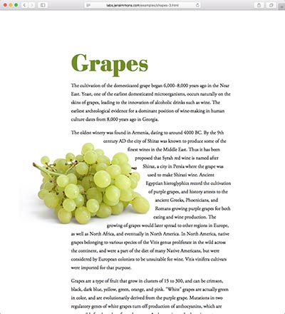 screenshot of the Grapes shape demo