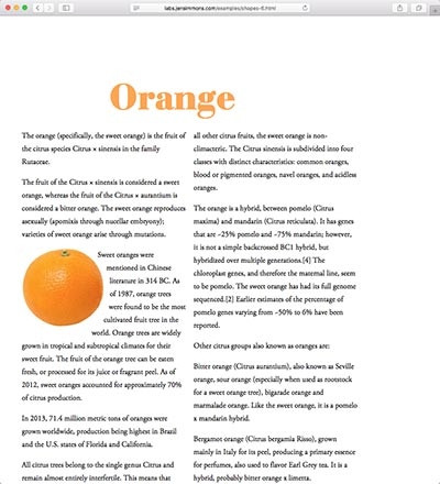 screenshot of the Orange shape demo