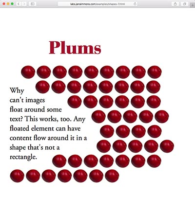 screenshot of the Plums shape demo